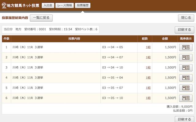 川崎11RのPAT購入画像