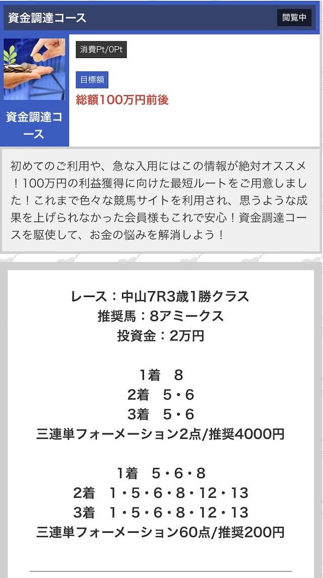競馬タウンの有料予想4月4日中山7レースの買い目画像
