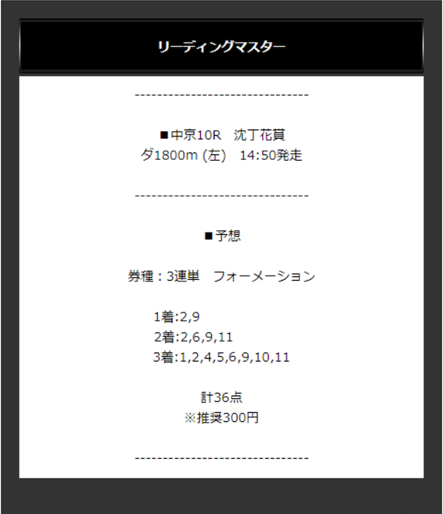 2020/3/15(日)中京10Rの買い目