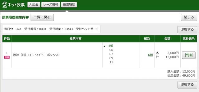 2020年3月15日阪神11レースのPAT購入画像