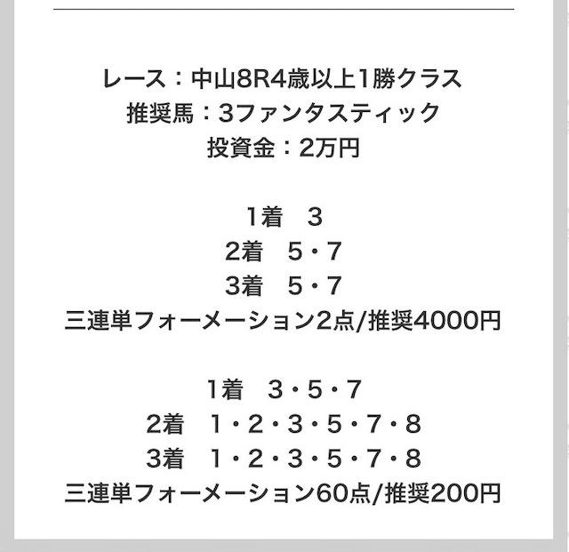 競馬タウンの有料予想4月4日中山8レースの買い目画像