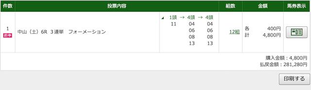 4月18日中山6レースの投票画像