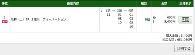 グロリアの有料情報2020年4月18日阪神2レースのPAT投票画像
