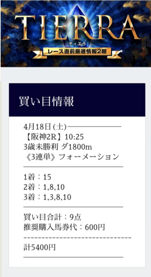 グロリアのティエラの買い目2020年4月18日阪神2レース