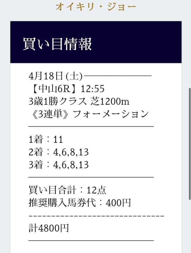 競馬学会の有料予想2020/4/18