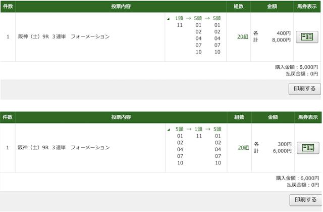 4月11日阪神9レースのPAT投票画面
