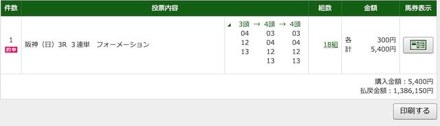 2020年4月19日阪神3レースのPAT投票画像