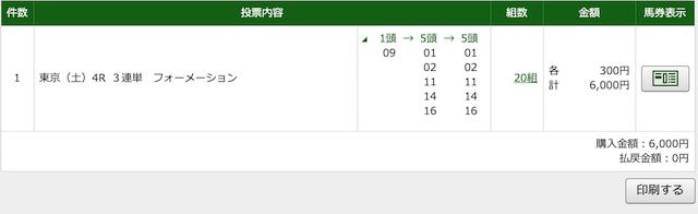 2020年5月9日東京4レースの投票画面