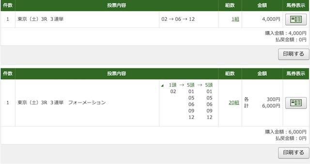 5月9日東京3レースの投票画像