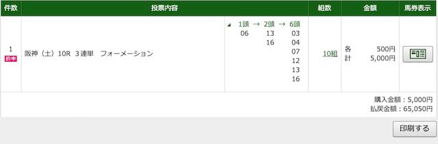 2020年4月18日阪神10レースのPAT購入画面