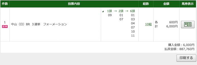 2020年4月19日中山8レースのPAT購入画面