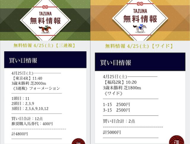 TAZUNAの無料予想2020年4月25日の買い目