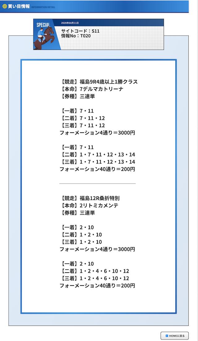 的中マーケットの有料予想福島9と福島12の買い目