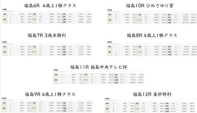 各レースの結果画像