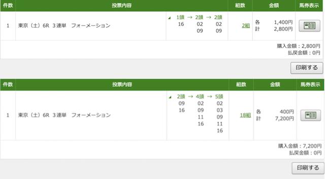 裏馬券倶楽部2020年6月6日東京6レースのPAT投票画像