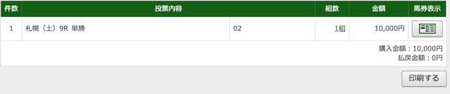 7月25日札幌9R購入画面