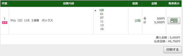 JHA2020年4月19日中山11Rの投票画面