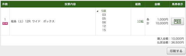 ラップ競馬 7月4日福島12RのPAT画像購入画面