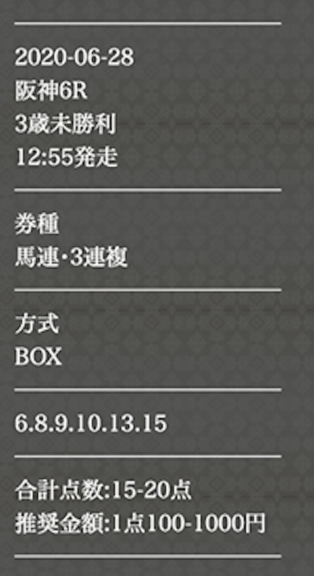 P4 6月28日阪神6Rの買い目画像