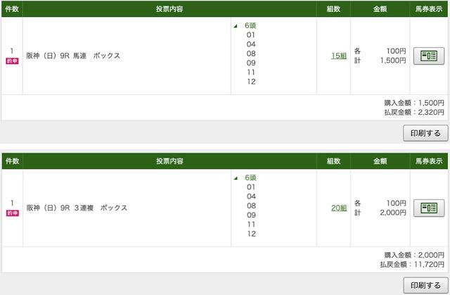 P4 阪神9RのPAT購入画像