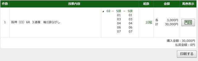 Navigatorの無料予想2020年3月8日阪神6レースのPAT購入画像