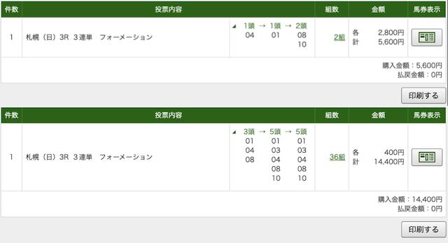 ゴールドラッシュ 札幌3レースPAT画像