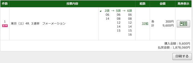 ホライズンの有料予想2020年5月2日東京4レースのPAT投票結果
