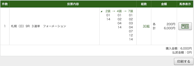 リポート 札幌9R PAT画像