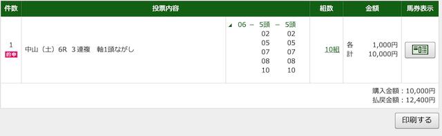 ステイヤー3月14日の中山6R購入画面