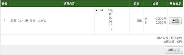 8月8日新潟1R購入PAT
