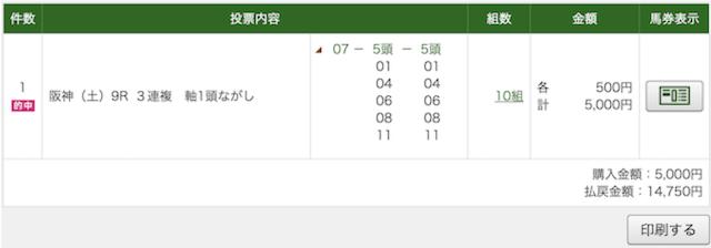 4月11日阪神9R購入画面