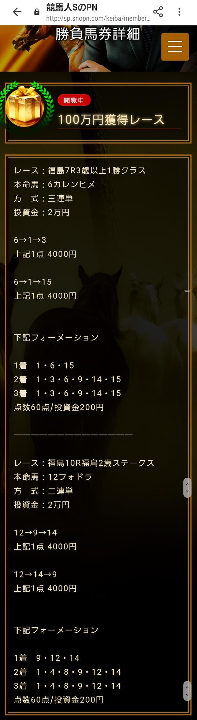 競馬人SのPN 100万円獲得情報画像