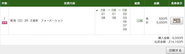 うまくる 10月25日新潟3レースPAT