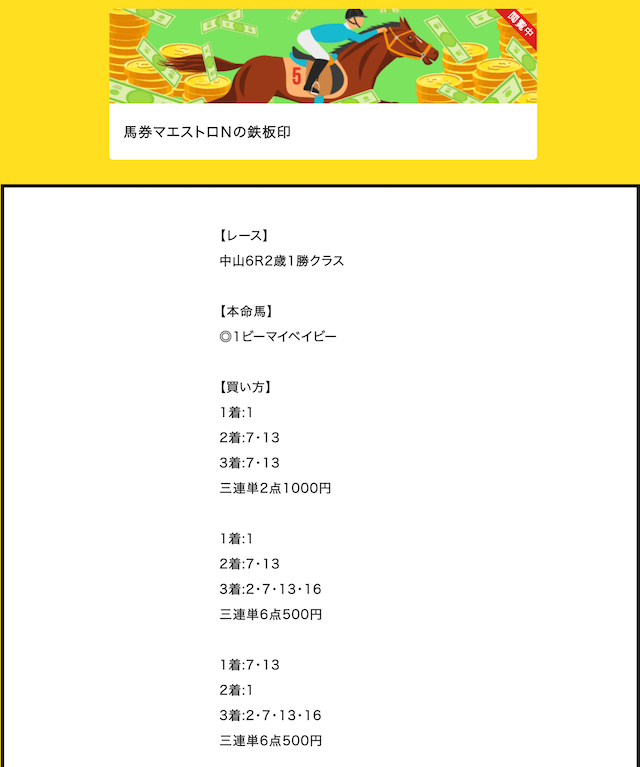 エコ競馬 馬券マエストロN 1レース目