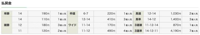 エコ競馬:中京8R結果画像