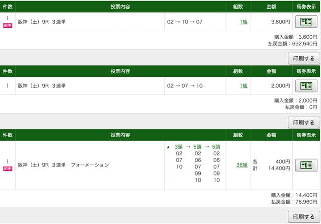 ゴールドラッシュ:12月19日阪神9レースPAT画像