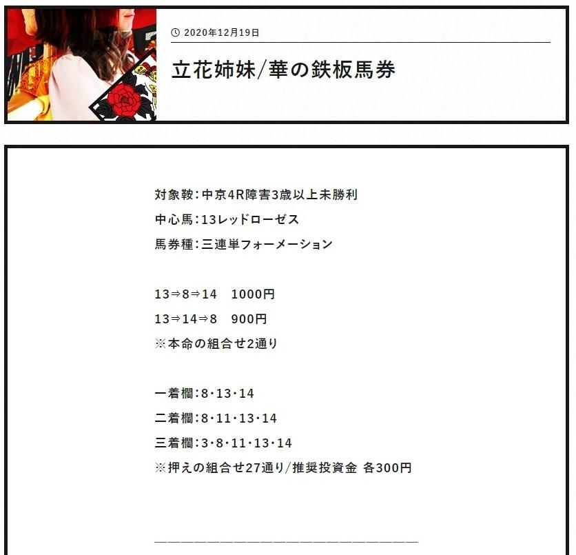 阿九亜屋(あくあや):立花姉妹華の鉄板馬券買い目①