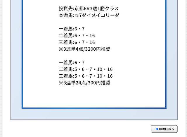 的中マーケット:有料予想京都6R買い目