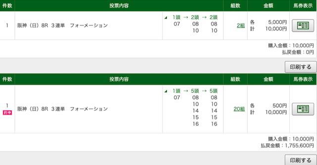 ばかうけ:阪神8R的中画像