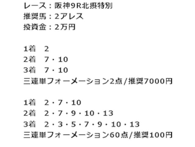 競馬タウン有料予想阪神9R