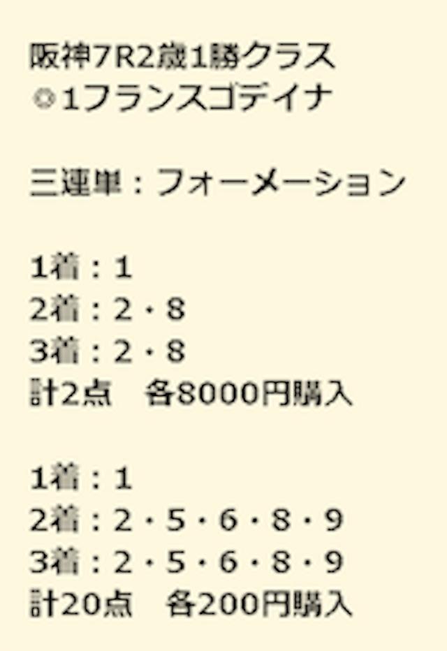 金馬券阪神7R買い目