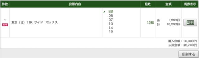 スマート万馬券:東京11レースPAT
