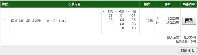 池江道場:函館2レースのPAT画像