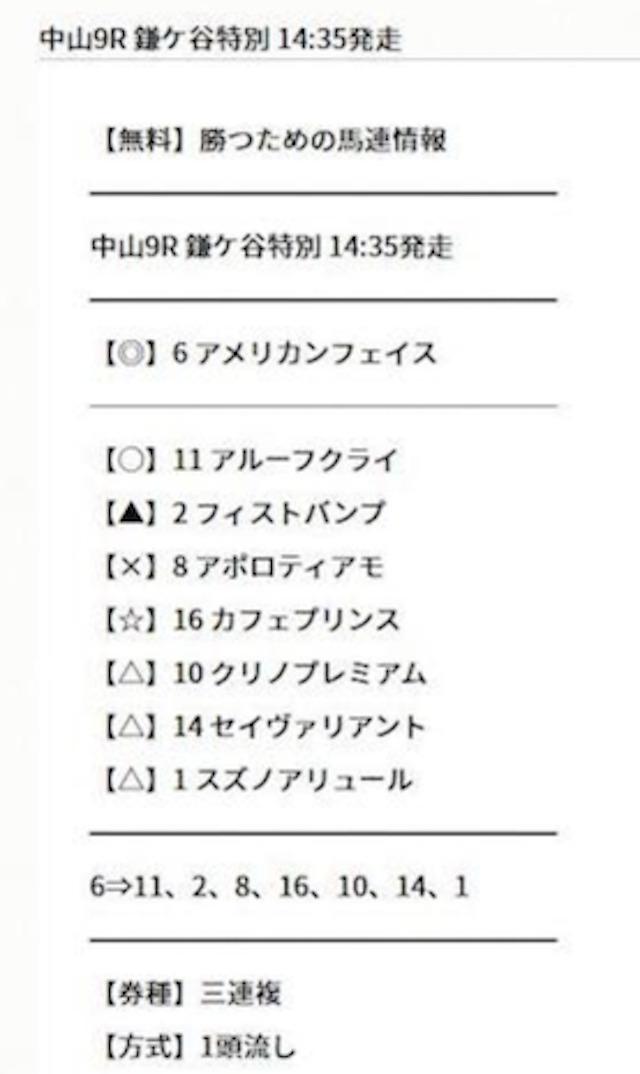 勝つために 無料予想 3月13日 中山9R