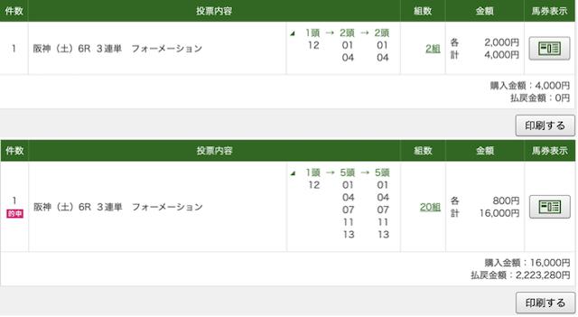 金馬券 無料予想 1219 阪神6R