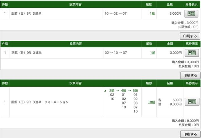 函館9レースのパット画像